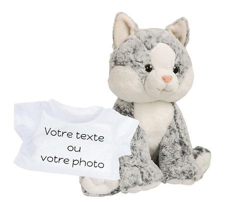 Peluche avec T-shirt personnalisé - Chat gris en peluche de 40 cm