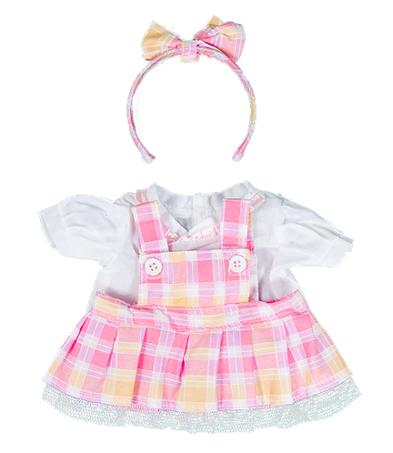 Robe écossaise rose et chemisier blanc - vêtements pour peluche de 20 cm