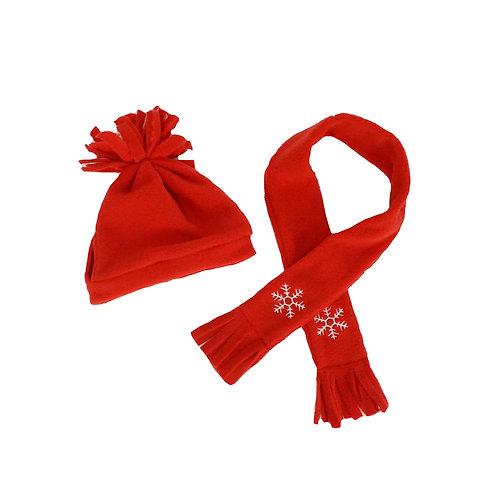 Bonnet et écharpe polaire rouge - vêtements pour peluche de 40 cm