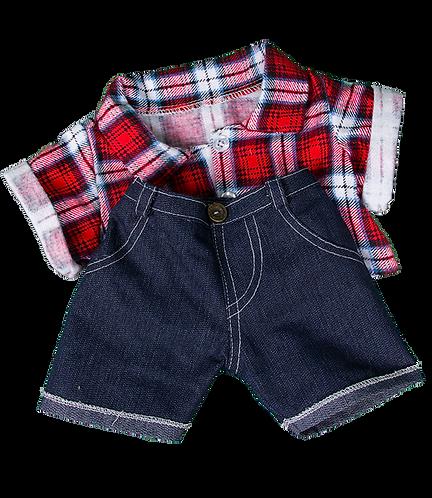 Chemise à carreaux et jean - vêtements pour peluche de 40 cm