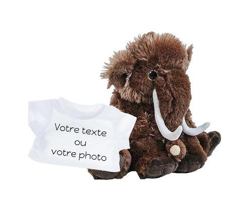 Peluche avec T-shirt personnalisé - Mammouth en peluche de 20 cm