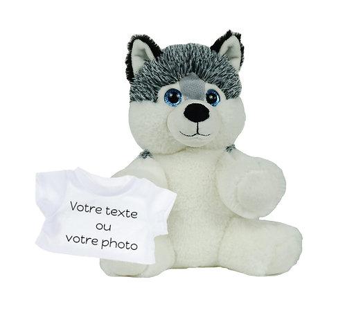 Peluche avec T-shirt personnalisé - Husky en peluche de 20 cm