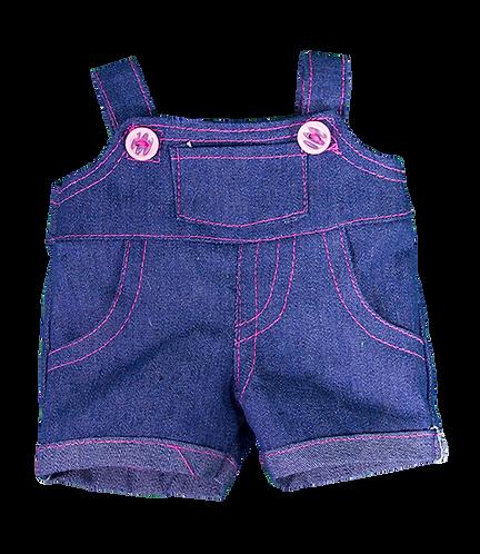 Salopette en jean et boutons roses - vêtements pour peluche de 20 cm