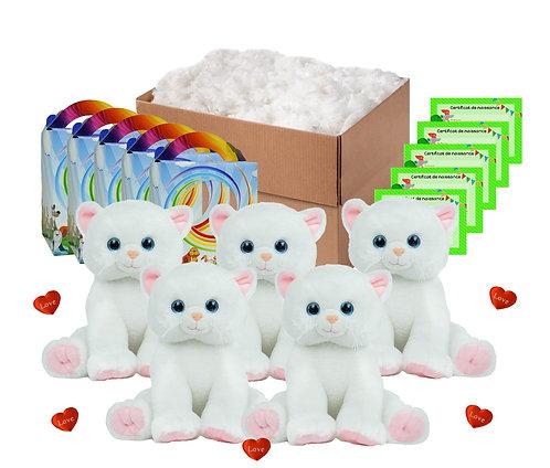 Pack anniversaire chatons blancs de 40 cm