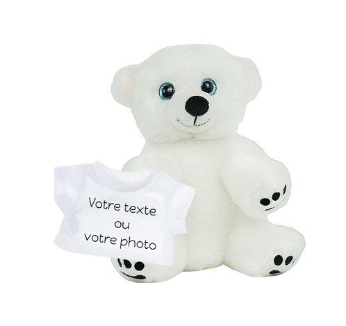 Peluche avec T-shirt personnalisé - L'ours polaire en peluche de 20 cm