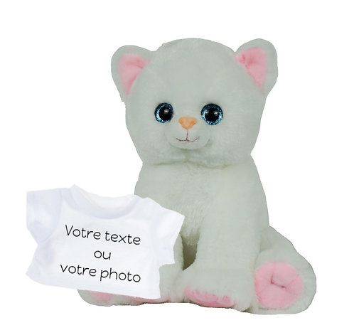 Peluche avec T-shirt personnalisé - Chaton blanc en peluche de 20 cm