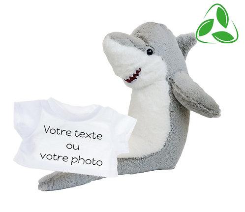 Peluche écologique avec T-shirt personnalisé - Requin en peluche de 40 cm