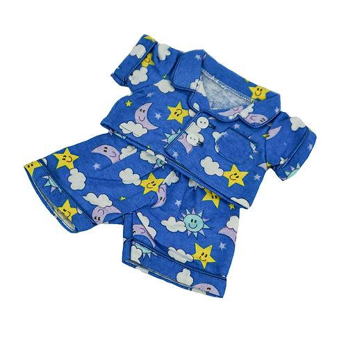 Pyjama bleu - vêtement pour peluche de 20 cm