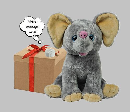 Peluche avec son - Eléphant - 40 cm