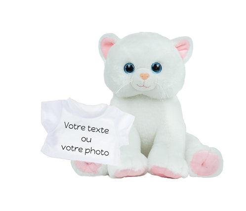 Peluche avec T-shirt personnalisé - Chat blanc en peluche de 40 cm