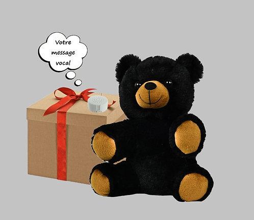 Peluche avec son enregistrable - Ours noir de 20 cm