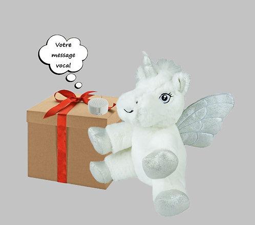 Peluche avec son - Licorne blanche - 20 cm