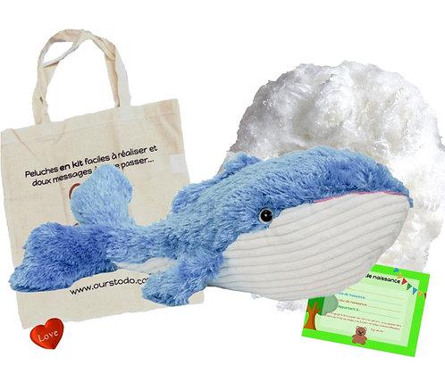 Baleine en peluche recyclée à créer de 40 cm