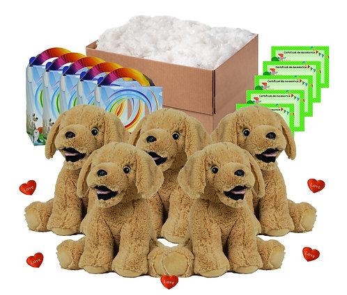 Pack anniversaire labradors beiges de 40 cm