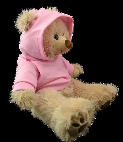 Sweat rose clair à capuche - vêtement pour peluche de 40 cm
