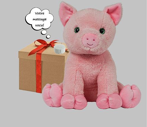 Peluche avec son enregistrable - Cochon en peluche de 40 cm