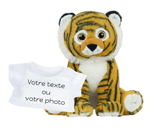 Peluche avec T-shirt personnalisé -  Tigre en peluche de 40 cm
