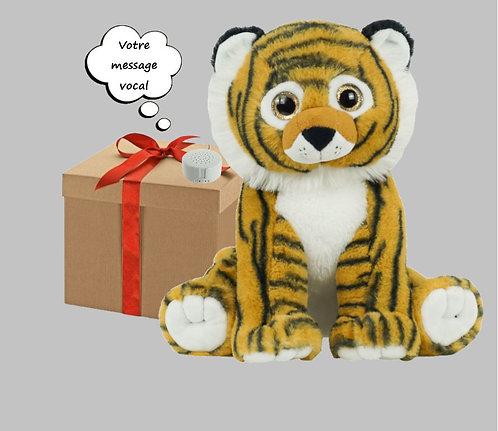 Peluche avec son enregistrable - Tigre en peluche de 40 cm