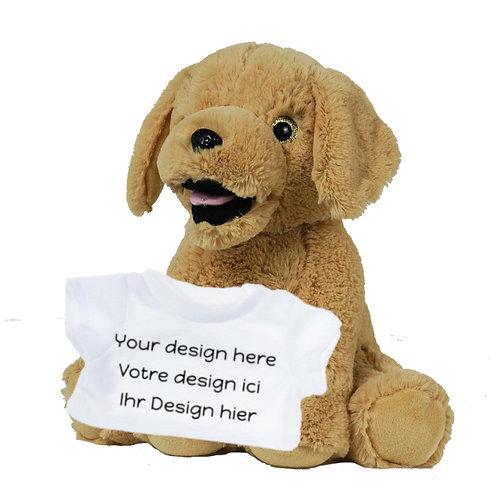 Peluche avec T-shirt personnalisé - Labrador beige en peluche de 40 cm