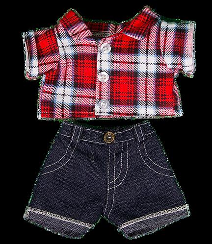 Chemise à carreaux et jean - vêtements pour peluche de 20 cm