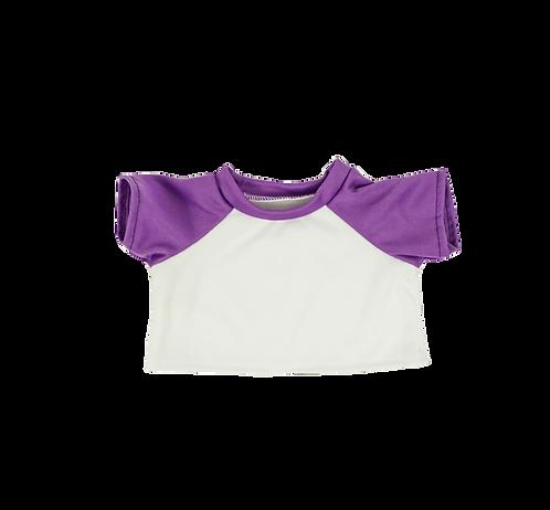 T-shirt blanc et violet - vêtements pour peluche de 40 cm