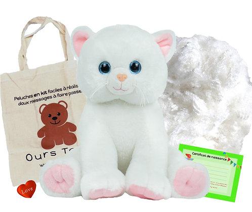 Le chaton blanc  - peluche à créer de 40 cm