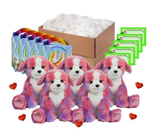 Pack anniversaire chiots colorés de 40 cm