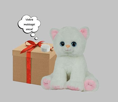 Peluche avec son - Chat blanc - 20 cm