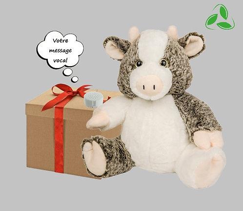 Peluche écologique avec son enregistrable - Vache en peluche de 40 cm