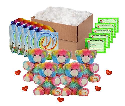 Pack anniversaire ours arc-en-ciel de 20 cm