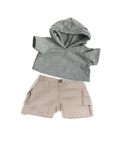 Sweat gris à capuche et bermuda beige - vêtements pour peluche de 40 cm