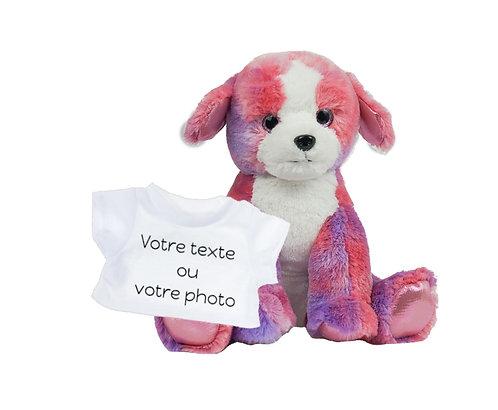 Peluche avec T-shirt personnalisé - Chiot coloré en peluche de 40 cm