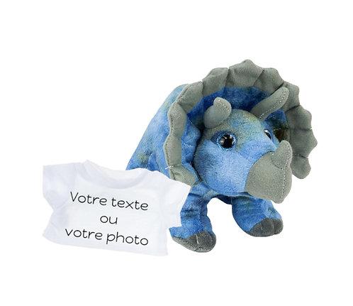 Peluche avec T-shirt personnalisé - Tricératops en peluche de 20 cm