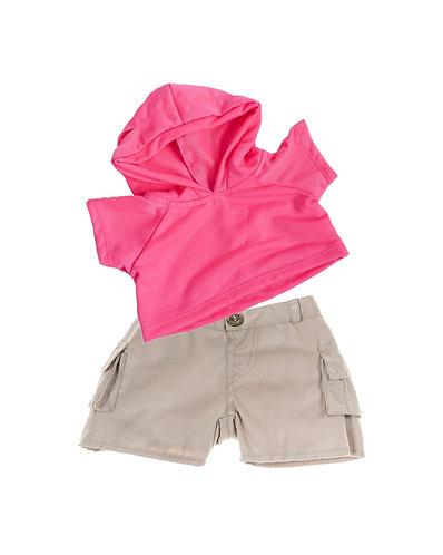 Sweat rose à capuche et bermuda beige - vêtements pour peluche de 40 cm