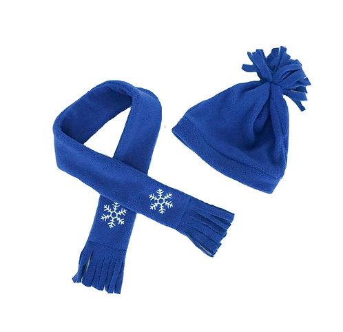 Bonnet et écharpe polaire bleu - vêtements pour peluche de 40 cm