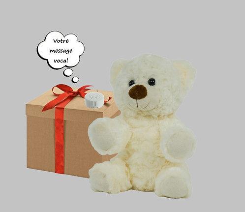 Peluche avec son enregistrable - Nounours classique blanc de 20 cm