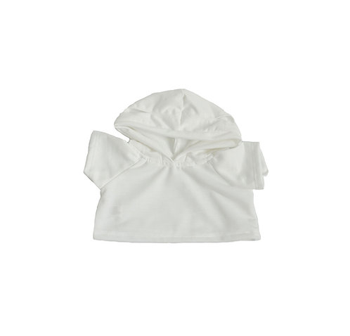 Sweat blanc à capuche - vêtement pour peluche de 40 cm
