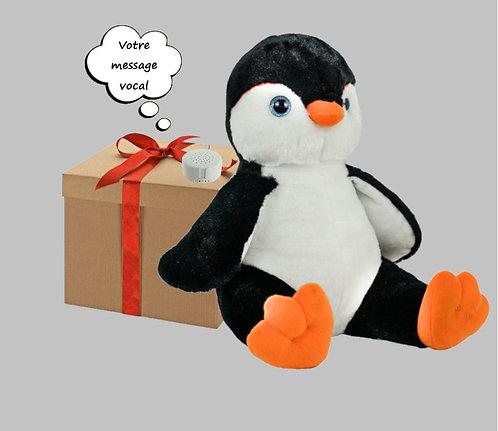 Peluche avec son enregistrable - Pingouin en peluche de 40 cm