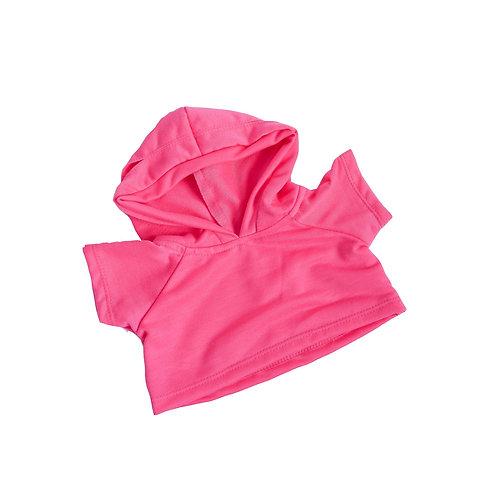 Sweat rose à capuche - vêtement pour peluche de 40 cm