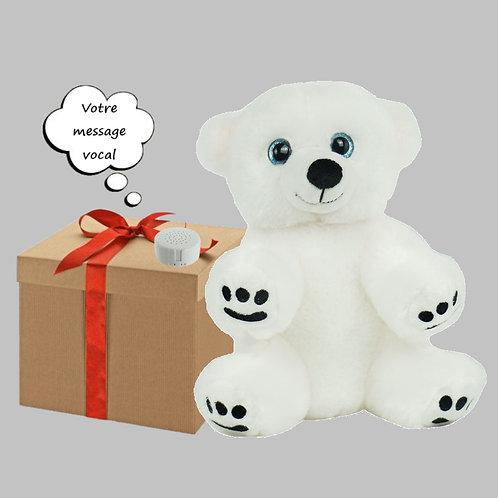 Peluche avec son enregistrable - L'ours polaire en peluche de 20 cm