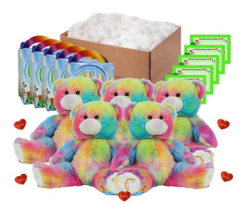 Pack anniversaire ours arc-en-ciel de 40 cm