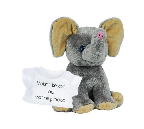 Peluche avec T-shirt personnalisé - Eléphant en peluche de 20 cm