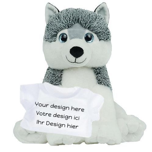 Peluche avec T-shirt personnalisé - Husky en peluche de 40 cm