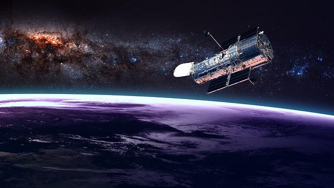 The Hubble Space Telescope in orbit abov