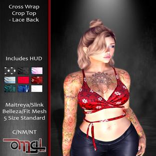 OMG! Inc. Cross Wrap Crop Top - Lace Bac