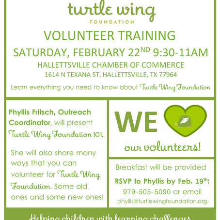 Turtle Wing 101 Volunteer Training