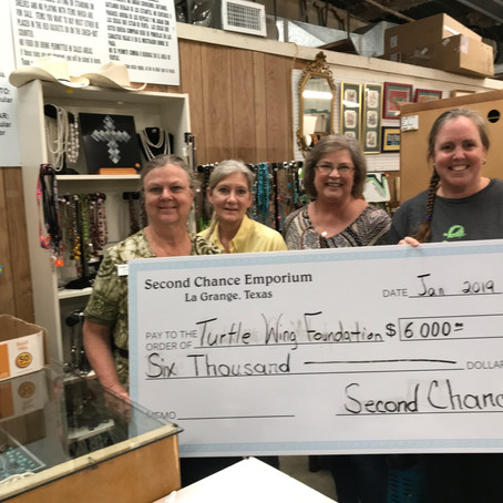 Second chance donates to Turtle Wing Foundation and Underwrites Social Skills Outing Groups