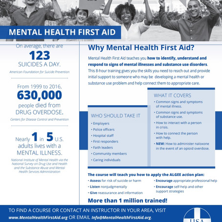 Mental Health First Aid Training is Open to all Concerned Community Members