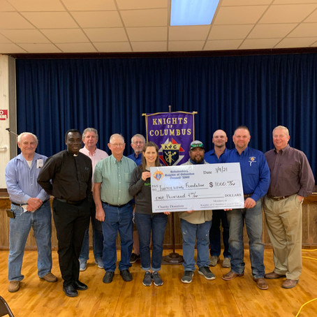 Schulenburg Knights of Columbus Donated to Turtle Wing Foundation