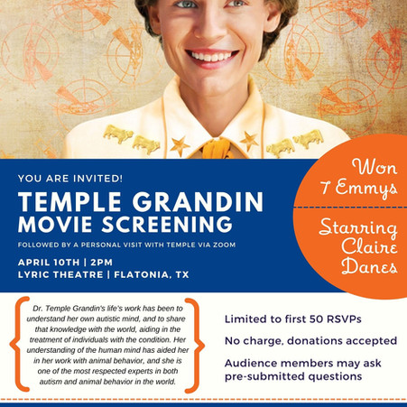 Turtle Wing to Host a Temple Grandin Experience As Part of their Autism Awareness Activities